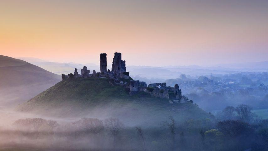 英格兰,多塞特郡,薄雾笼罩在日出时分的科夫堡