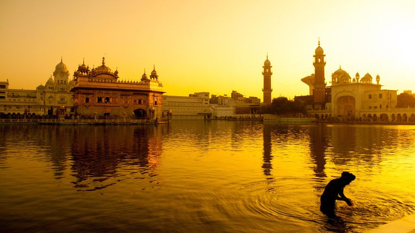 Sunset at Golden Temple in Amritsar, India