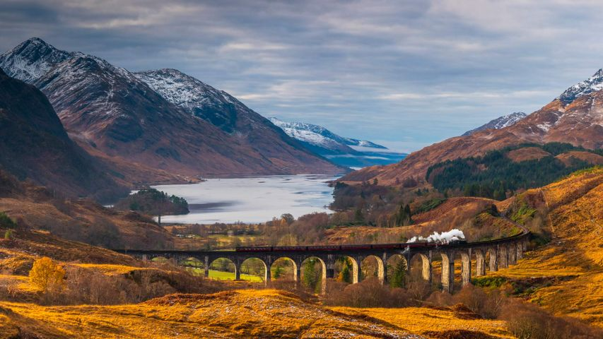The Glenfinnan Viaduct in Scotland, made famous by the Hogwarts Express in Harry Potter