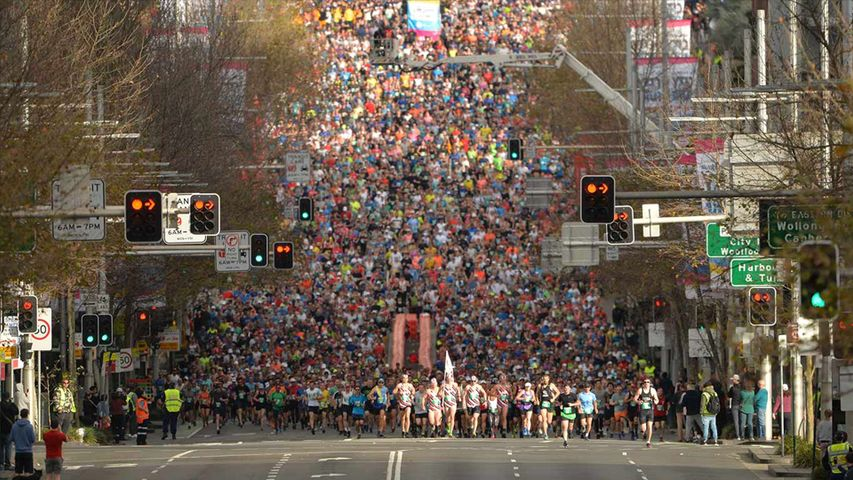 Thousands of runners take part in the annual City2Surf road race on August 12, 2018