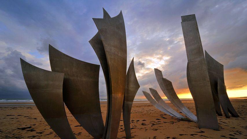 Omaha Beach monument Les Braves, on the beach at Saint-Laurent-sur-Mer, Normandy, France