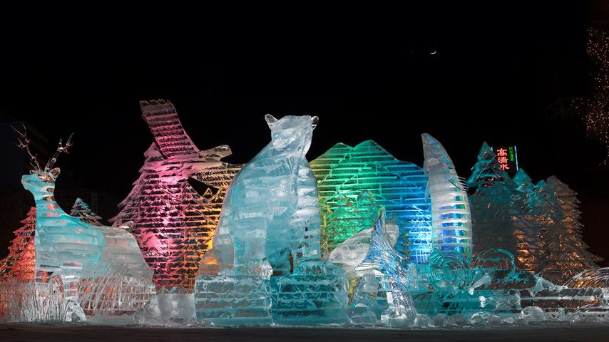 Ice sculptures at Sapporo Winter Festival, Japan