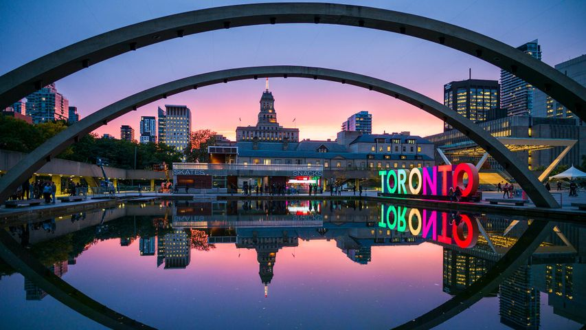 Toronto sign in Nathan Phillips Square by the City Hall, Toronto