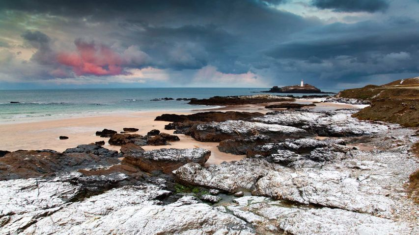 Looking out to Godrevy Lighthouse in St Ives Bay, Cornwall, England