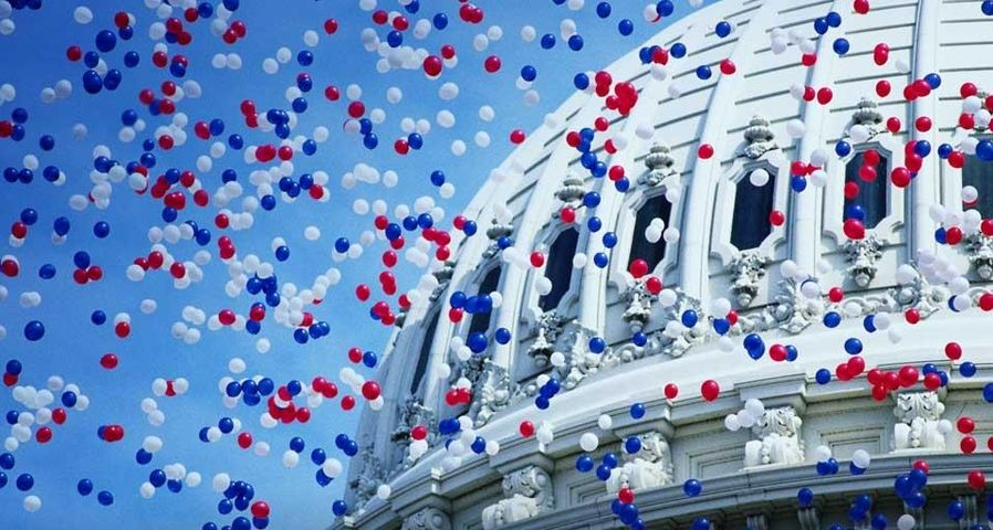 Balloons floating over the U.S. Capitol dome, Washington, D.C.