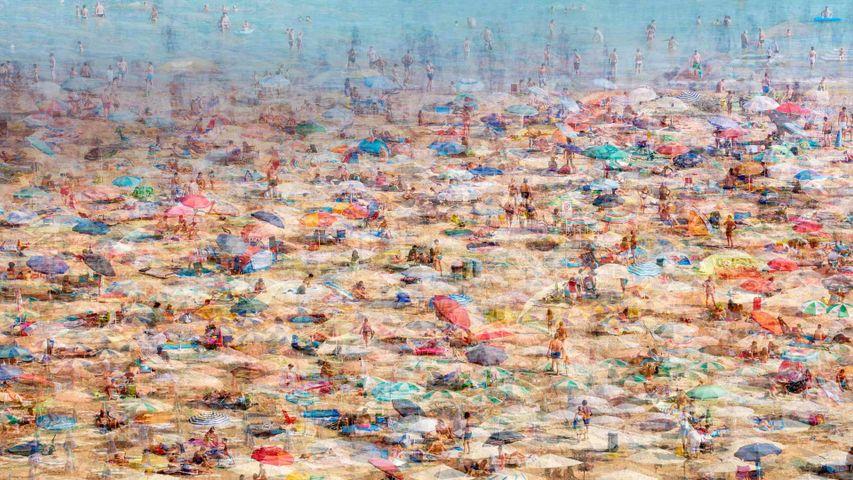 Photo montage de la plage de Lignano Sabbiadoro, Italie