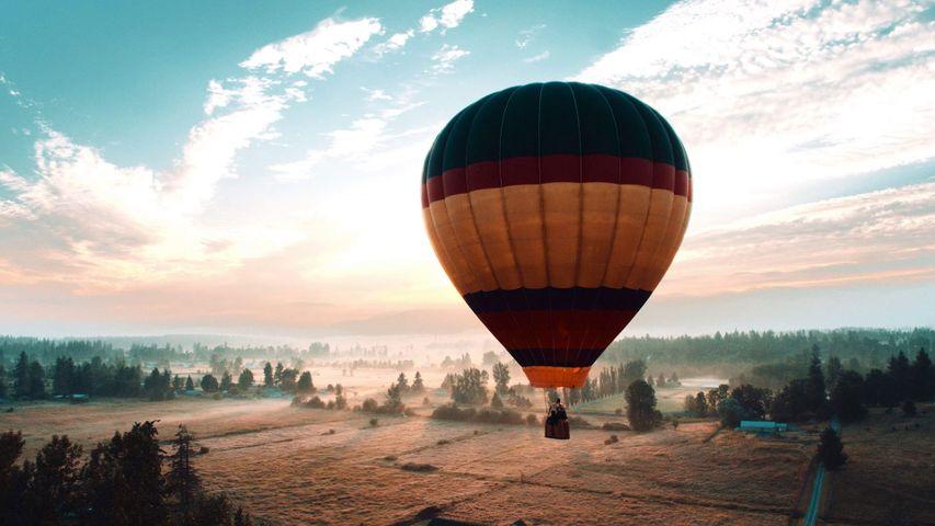 Hot air balloon over Auburn, Washington, USA