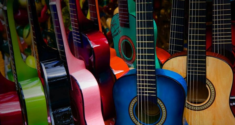 Toy guitars in the historic Mexican area of Los Angeles, California