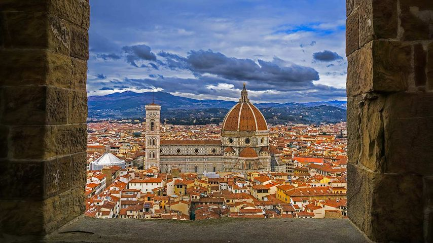 View of the Florence Cathedral from the tower of Palazzo Vecchio in Florence, Italy