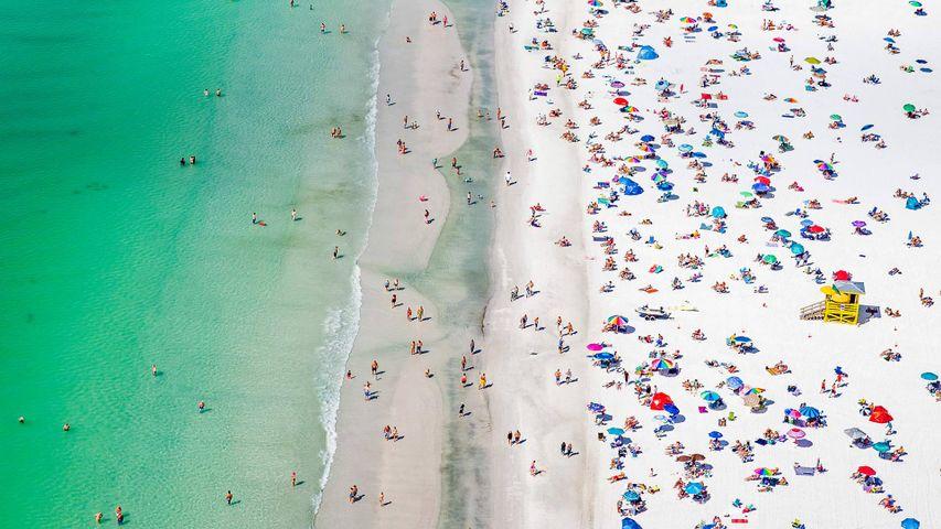 Vista aérea de Siesta Beach, en Cayo Siesta, Florida