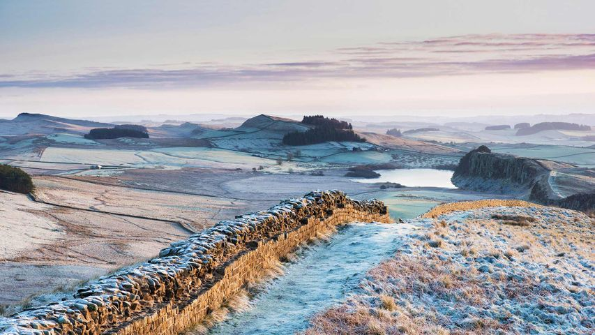 Frosty morning at Hadrian's Wall on Winshields Crags, looking towards Crag Lough in Northumberland