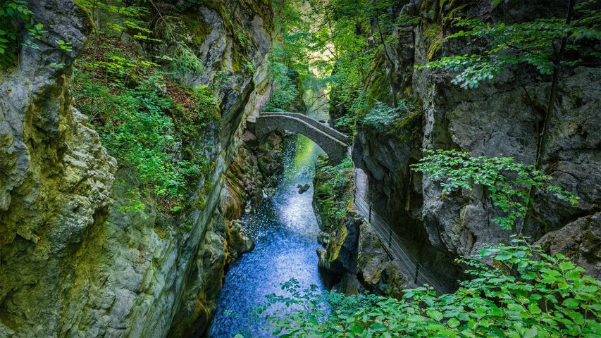 Saut du Brot stone bridge in the Areuse Gorge, Neuchâtel, Switzerland