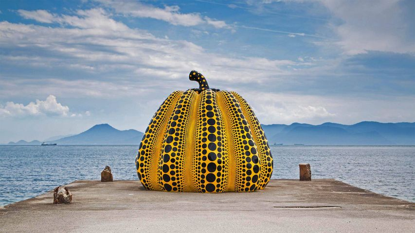 Yayoi Kusama's 'Pumpkin' artwork on Naoshima Island, Japan, in August 2018