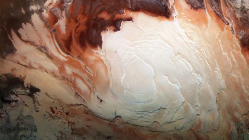 Mars Express image of the icy cap at Mars' south pole