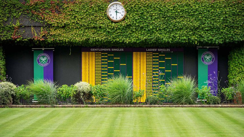 Order of Play boards on Centre Court at the All England Lawn Tennis Club, Wimbledon, London