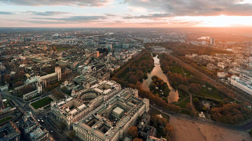 Aerial photograph over Whitehall and St James's Park, London