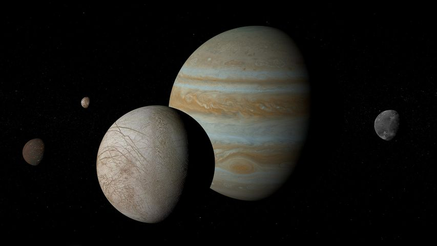 Jupiter and its moons Io, Europa, Ganymede, and Callisto