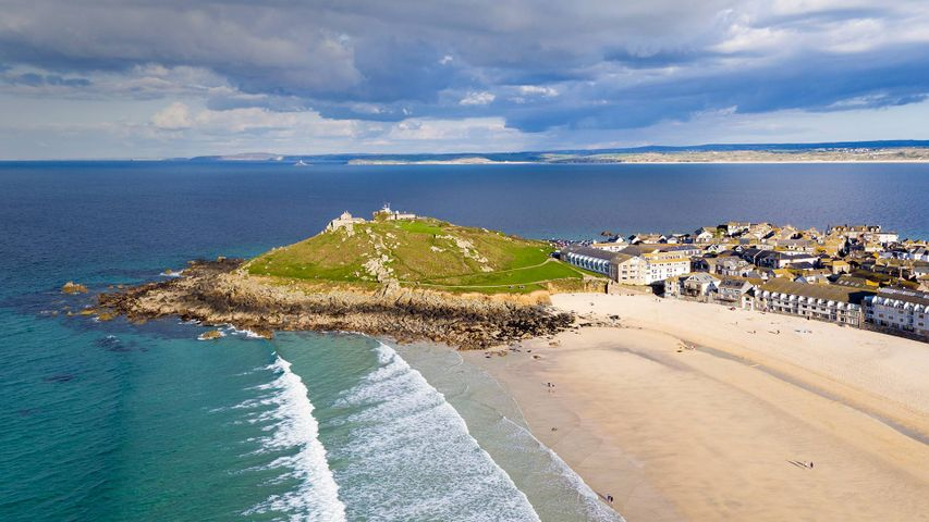 Porthmeor beach in St Ives, Cornwall, England