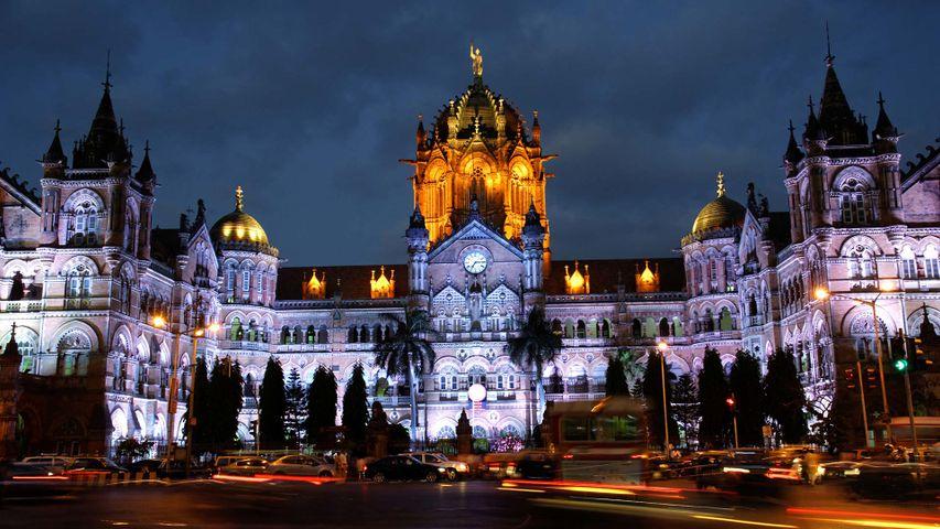 CST station Mumbai, illuminated for Republic Day