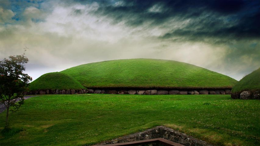 Knowth burial mound in Newgrange, Boyne Valley, Ireland for St Patrick's Day