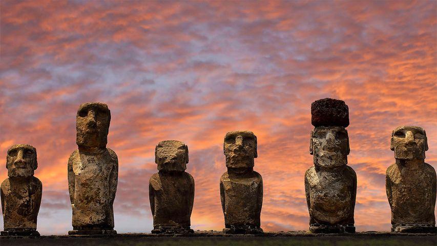 Moai statues at Ahu Tongariki in Rapa Nui National Park, Easter Island, Chile