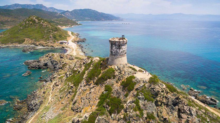 Vue aérienne de l'archipel des Sanguinaires, Corse, France.
