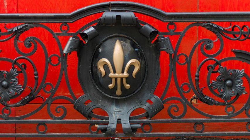 Fleur de Lis on a railing at Golden Square Mile, Montreal