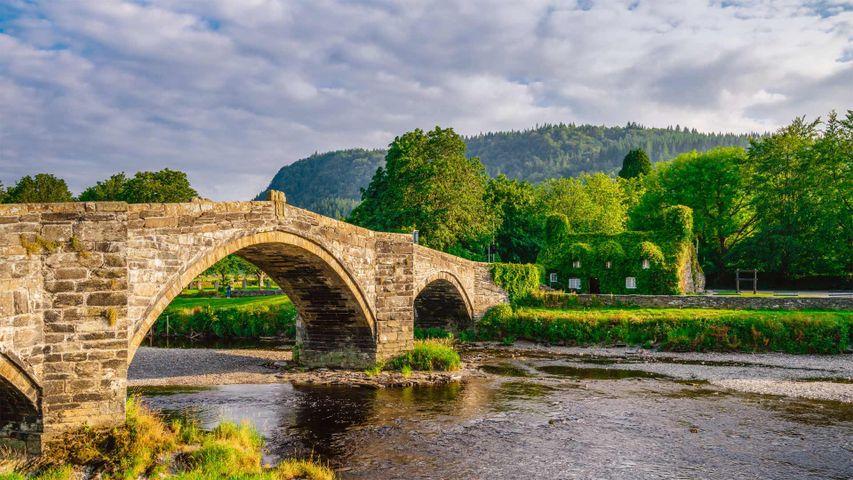 Pont Fawr, a stone arch bridge in Llanrwst, Wales, UK