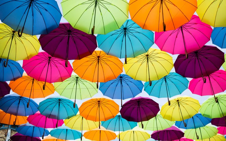 accessory umbrella rain colored colorful parachute different hanging