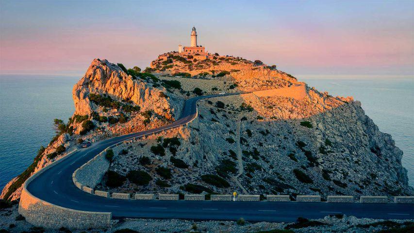 Formentor lighthouse at the tip of Cap de Formentor, Mallorca, Spain