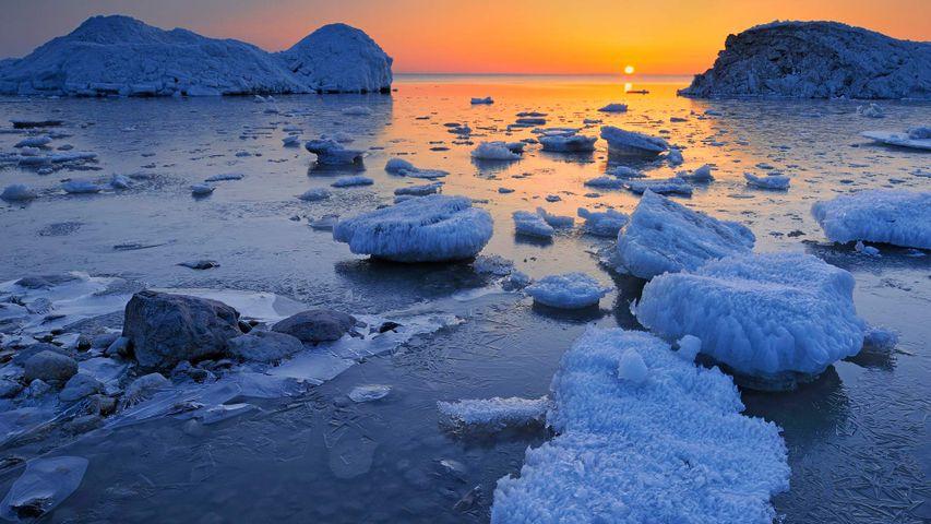 Spring ice along the shore of Lake Winnipeg, Manitoba, Canada