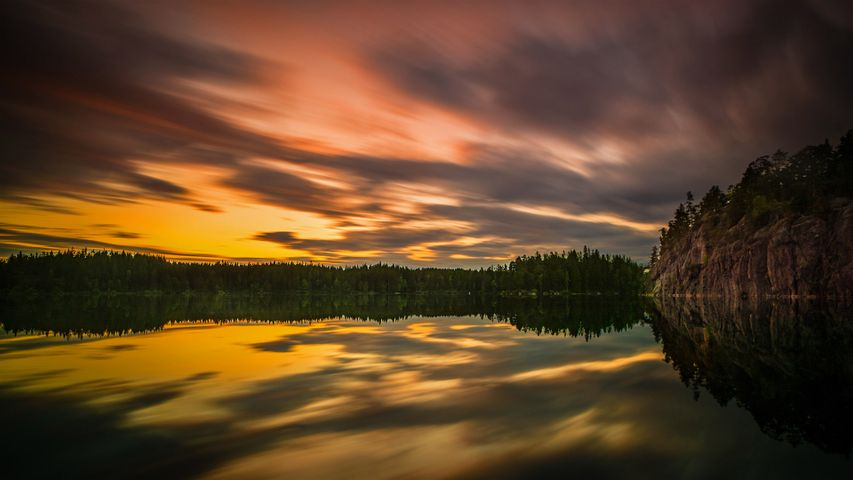 Midsummer light captured at a lake near the city of Örebro, Sweden