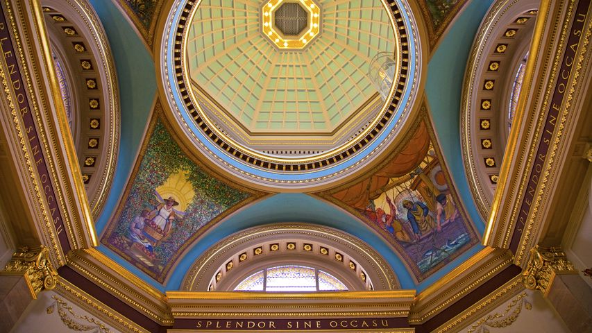 Decorative ceiling of the rotunda in the British Columbia legislative building, Victoria, B.C.