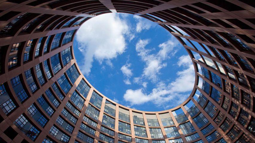 Vue du ciel depuis le bâtiment Louise-Weiss, le Parlement européen de Strasbourg, France