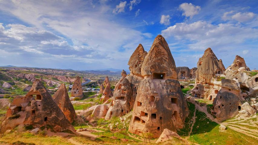 Fairy chimneys and cave dwellings in Uçhisar, Cappadocia, Turkey