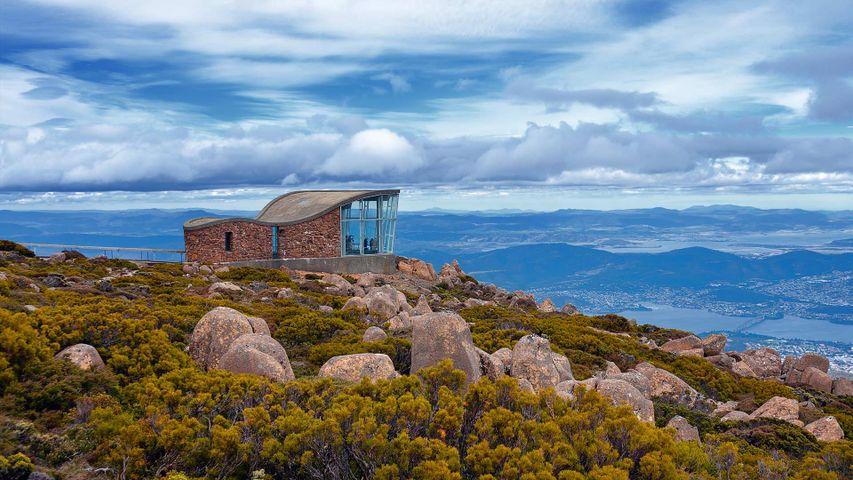 Mt Wellington observation deck with views of Hobart city, Tasmania