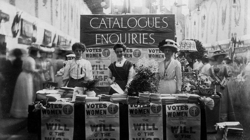 The catalogue and enquiries stall at the Women's Exhibition, London, May 1909.