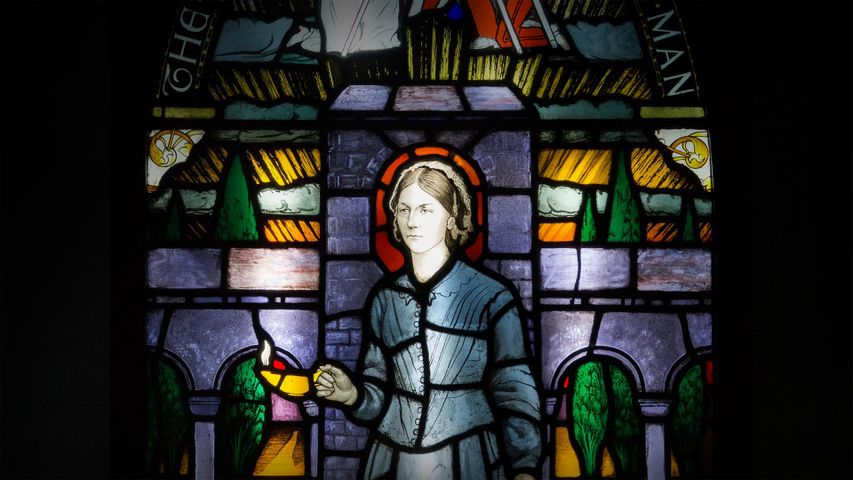 Painted and leaded glass window panel on display at the Florence Nightingale Museum, London, England