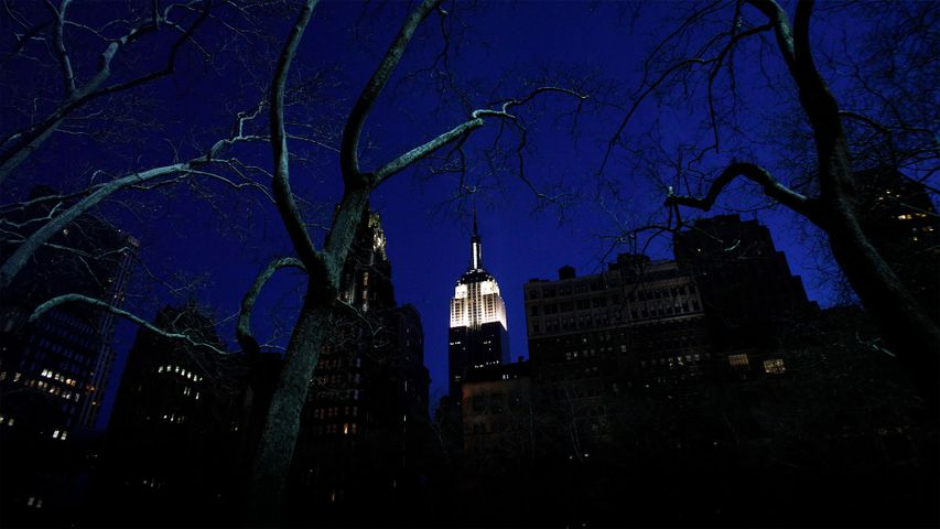 New York City's Empire State Building is seen lit up before Earth Hour in 2011