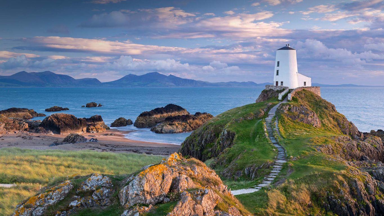 Tŵr Mawr lighthouse on Llanddwyn Island in Anglesey, North Wales