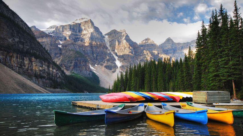 mountain sky outdoor lake watercraft water canoe paddle
