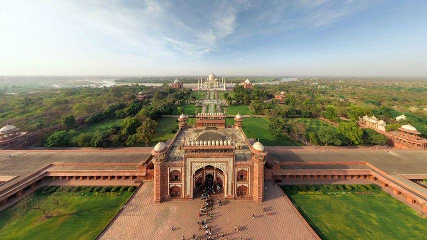 Aerial view of Taj Mahal in Agra, India