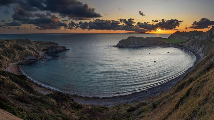 Panoramic view of Lulworth Cove at sunset, Dorset