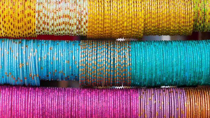Colourful bangles in a market, Andhra Pradesh