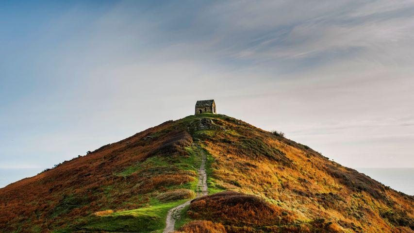 Low angle view of Rame Head, Cornwall.