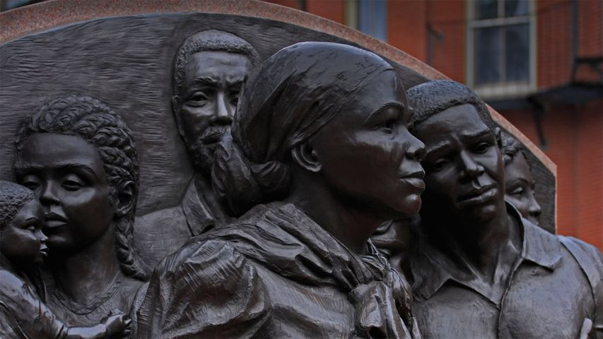'Step on Board,' the Harriet Tubman Memorial, sculpted by Fern Cunningham, in Boston, Massachusetts