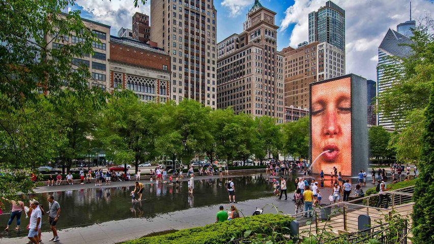 Crown Fountain, by Catalan artist Jaume Plensa, in Millennium Park, Chicago, Illinois