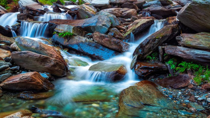 Bhagsu waterfalls in the Dharamsala region, Himachal