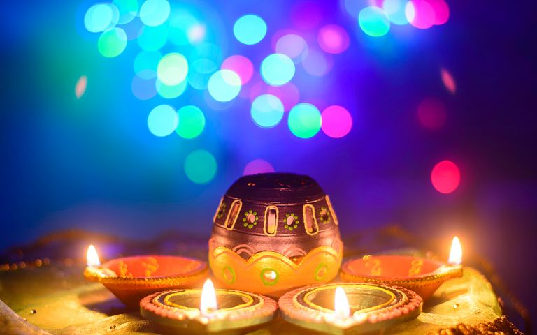 Indian Festival Of Lights: Oil Lamps and Flowers
