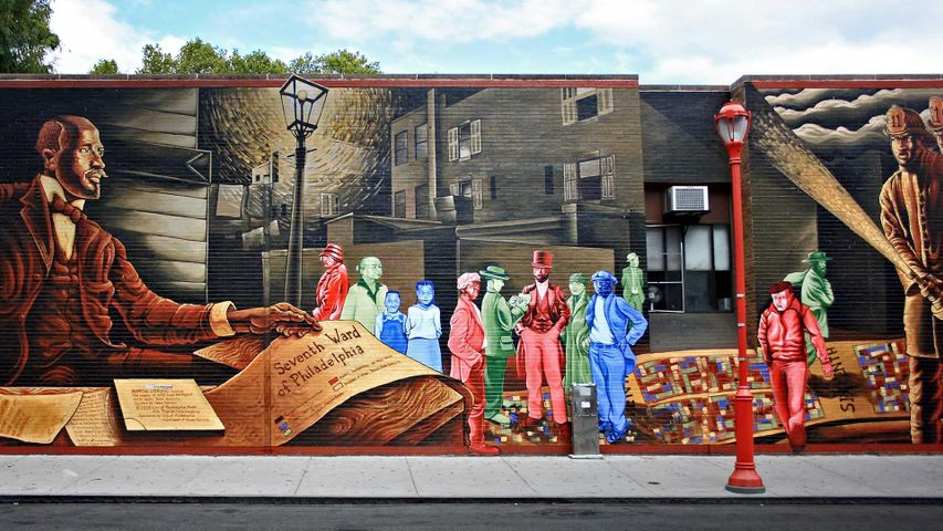 'Mapping Courage: Honoring W.E.B. Du Bois & Engine #11,' a mural by Willis Humphrey, Philadelphia, PA